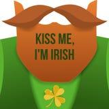 亲吻我, im爱尔兰语 圣帕特里克天与绿色衣服、红色胡子和没有面孔的字符妖精 海报的背景 向量例证