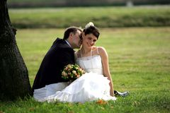 亲吻新婚佳偶的夫妇 免版税库存照片