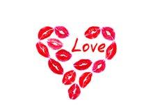 亲吻,爱,唇膏,明信片,孤立 库存例证