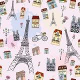 亲爱的巴黎无缝的样式 库存图片