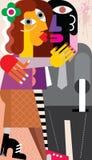 亲吻一个人的妇女 免版税库存图片