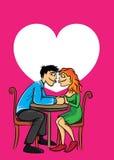 亲吻两个的恋人约会和 免版税库存照片