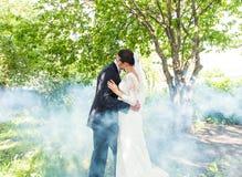 亲吻反对一个有薄雾的庭院的背景的婚礼夫妇 免版税图库摄影