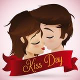 亲吻在亲吻天,传染媒介例证的浪漫夫妇 免版税库存图片