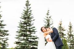 亲吻在公园的新娘和新郎 库存图片