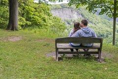 亲吻在公园的年轻夫妇 库存图片