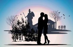 亲吻夫妇在有鸟的希腊 库存照片