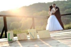 亲吻在日落光的新娘和新郎 免版税库存照片
