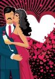亲吻夫妇和心脏背景 免版税库存图片
