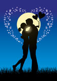 亲吻夫妇sihouette的恋人 库存照片