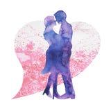 亲吻愉快的夫妇的恋人,喜帖或者订婚,允诺 库存照片
