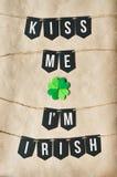亲吻我是爱尔兰黑横幅字法的我 免版税库存图片