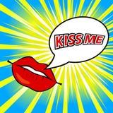 亲吻我!漫画书讲话泡影 库存图片
