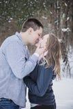 亲吻户外在冬天的年轻夫妇 库存照片