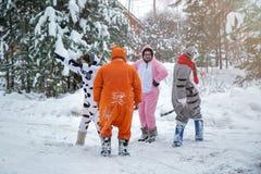 4人、2个女孩和2个人的有胡子的在kigurumi在雪冬天森林睡衣服装猪母牛袋鼠和猫 乐趣与 免版税图库摄影