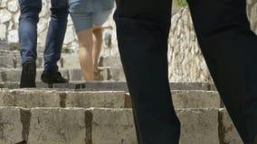 人上升的石台阶 影视素材