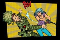 人与妇女 民用敲打侵略者军事战士 向量例证