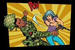 人与妇女 民用敲打侵略者军事战士 库存例证