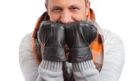 人与手套特写镜头的覆盖物面孔 库存照片