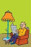 人与猫和狗的读书新闻 免版税库存图片