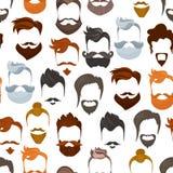 人与胡子和髭的动画片发型的无缝的样式 lumbersexual时兴的时髦的类型或行家 库存例证