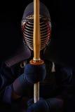 人与bokuto的kendo战斗机画象  免版税库存图片