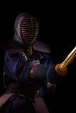 人与bokuto的kendo战斗机画象  库存照片