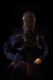 人与bokuto的kendo战斗机画象  免版税图库摄影