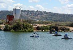 人为池塘的设备养鱼的 库存照片