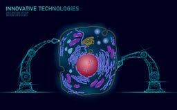 人为细胞synthesys基因治疗脱氧核糖核酸3D化学制品 动物细胞生物化学工程研究概念 Biorobot 库存例证