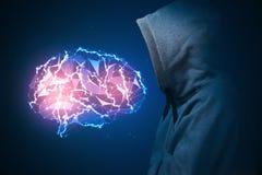 人为脑子巡回概念电子情报mainboard 图库摄影