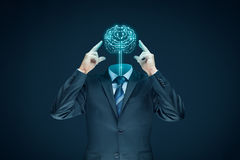 人为脑子巡回概念电子情报mainboard 库存图片