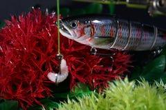 人为诱剂做了金属或塑料叮咬在油煎的鱼的人为诱饵 免版税库存图片