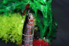 人为诱剂做了金属或塑料叮咬在油煎的鱼的人为诱饵 库存图片