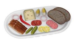人为食物-面包,肉,干酪,蔬菜 免版税库存图片