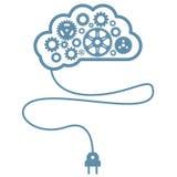 人为头脑和智力-与大齿轮的脑子 免版税库存照片