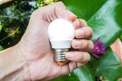 人举行明亮的圆的电灯泡 免版税库存照片