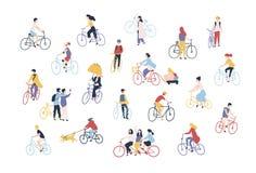 人乘坐的自行车的汇集在城市街道上的 捆绑男人、妇女和孩子在白色隔绝的自行车的 库存例证