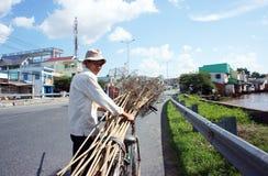人乘自行车运载捕鼠器。湄公河三角洲,越南6月28日 免版税库存照片
