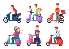 人乘驾摩托车 交付比萨或食物驾驶脚踏车传染媒介图片的旅客夫妇的快速的自行车滑行车 皇族释放例证