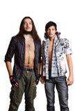 人二个年轻人 欧洲人和亚洲人 库存照片