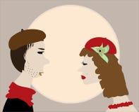 人亲吻妇女减速火箭的葡萄酒向量 图库摄影