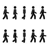 人人各种各样的走的位置 姿势棍子形象 导航在白色的常设人象标志标志图表 向量例证