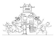 人人群动画片图画跑在远离巨型减速火箭的机器人的恐慌的  库存例证