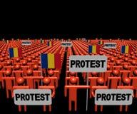 人人群有抗议标志和罗马尼亚语的下垂例证 向量例证