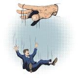 人从操纵傀儡的人的手跌倒了 E 库存例证