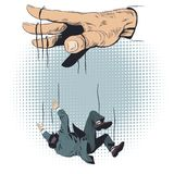 人从操纵傀儡的人的手跌倒了 E 皇族释放例证