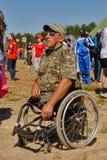 人以在轮椅的伤残 秋明州 库存图片