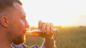 人们、饮料和酒精概念-接近从玻璃的有胡子的年轻人饮用的啤酒在麦子的热的夏日 影视素材