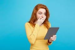 人们和技术概念-接近的画象年轻美丽的可爱的嫩姜redhair女孩愉快微笑  免版税库存图片